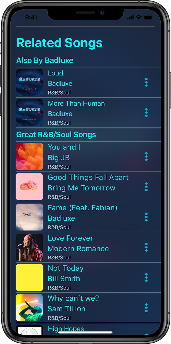 This is the suggested songs page. This page recomends songs to play next based on the currently playing song and your music listening history.