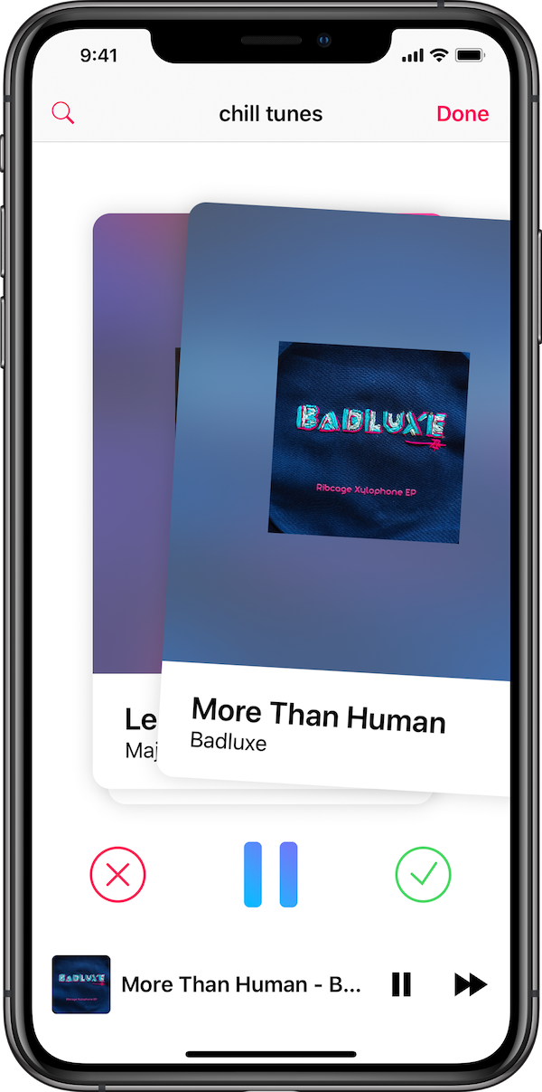 This is a picture of the Mix.It app for iPhone in the swiping screen. The user is currently swiping right on a song and adding it to a mix.